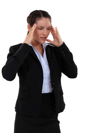 pain relief: 3 4 picture of brunette having headache