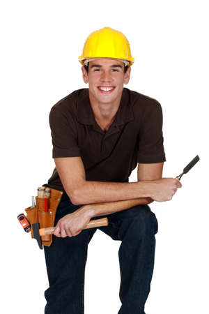 laborers: happy laborer, studio shot Stock Photo