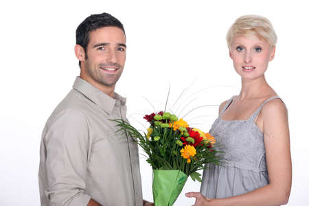 Man giving flowers Stock Photo - 13541955