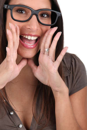 big mouth: Screaming woman with glasses