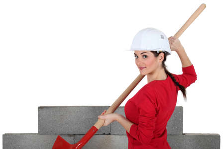 Female bricklayer photo