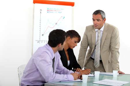 sales graph: Sales meeting Stock Photo