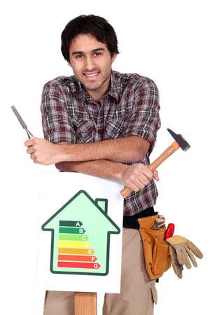 journeyman technician: portrait of young heating engineer