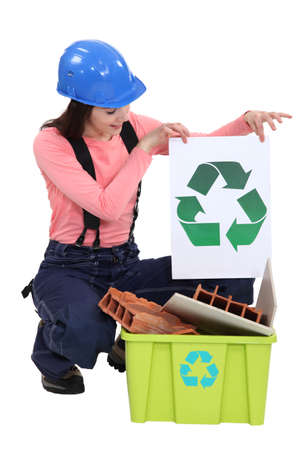 logo reciclaje: celebraci�n muy femenina alba�il de reciclaje logotipo