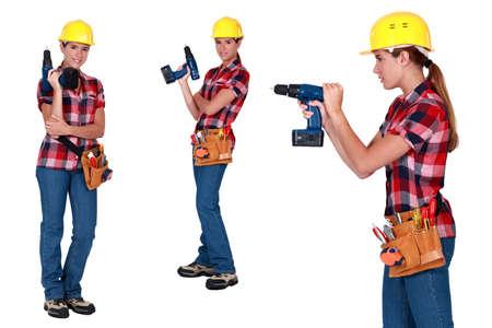 Woman using power drill Stock Photo - 13560859