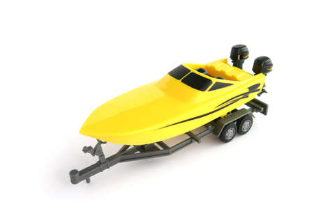 speedboat: Toy boat on a trailer Stock Photo
