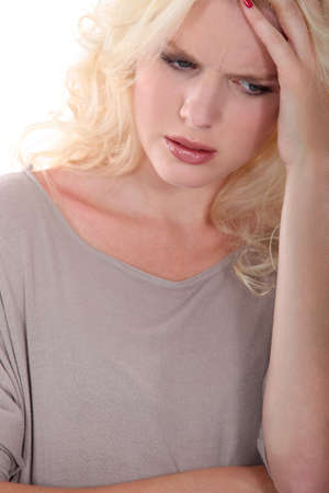 preoccupation: blond woman upset