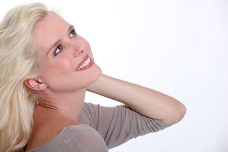 Profile of happy blond woman photo
