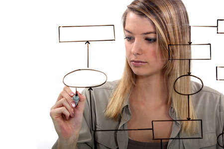 Woman drawing flow-chart photo