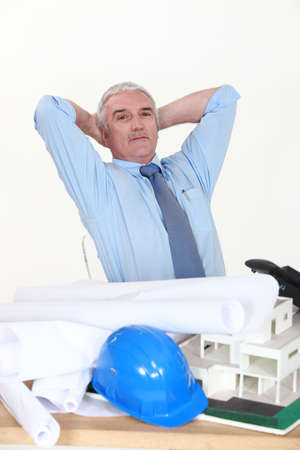 Architect reclining in his chair Stock Photo - 13560773