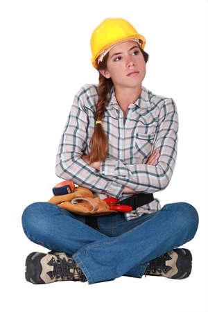 mope: Annoyed female builder Stock Photo
