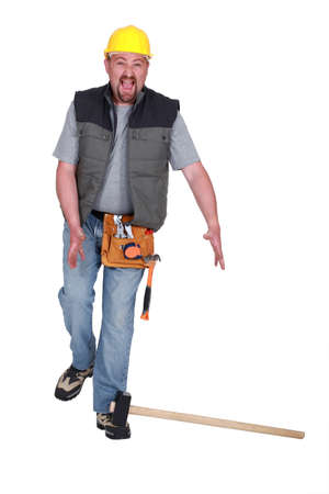 workman: craftsman having an accident Stock Photo