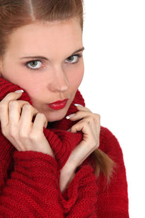 pull over: Beautiful woman in her woolen pull over  Stock Photo