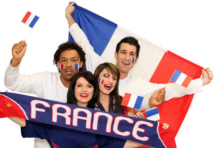 supporter: Cheerful men and women supporting France