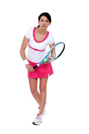 tennis shoe: Portrait of a female tennis player Stock Photo