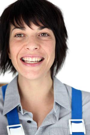 Head shot of female builder photo
