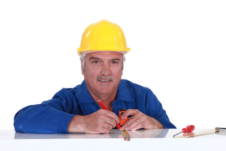 craftsman taking measurements Stock Photo - 13583763