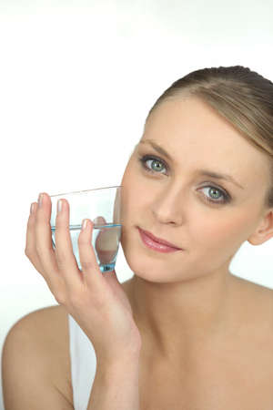 Young woman healthy with glass of water photo