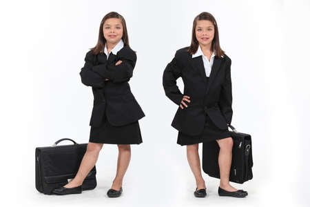 grown ups: schoolgirls dressed as businesswomen