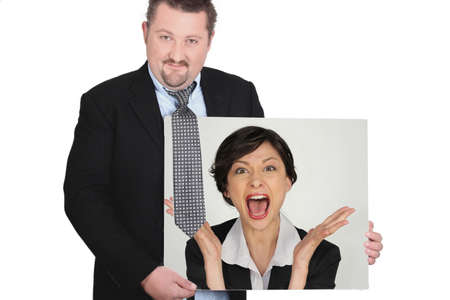 absolutism: Businessman with a picture of a woman shouting