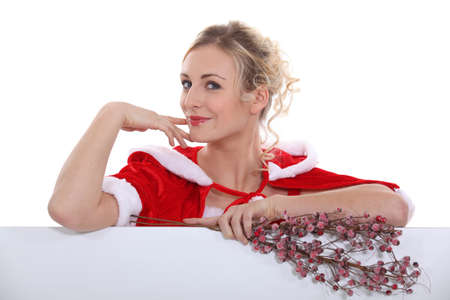 velvet dress: Blond woman with Christmas layer