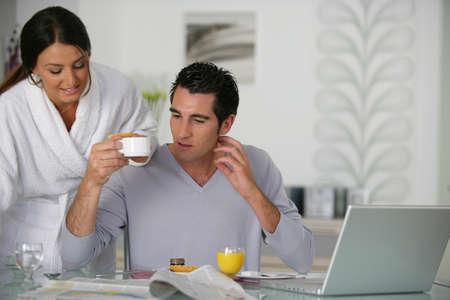 Couple having breakfast together Stock Photo - 13583126