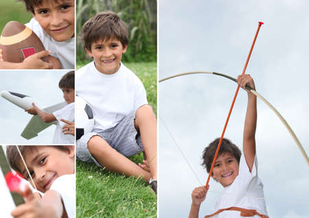 Montage of little boy with bow and arrow photo