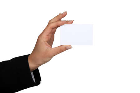 Woman with a blank businesscard Stock Photo - 13581738