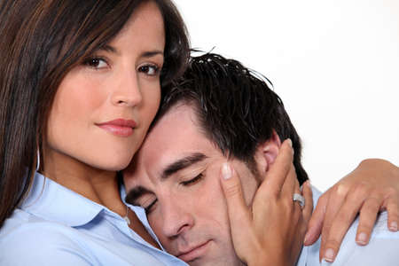 fondle: couple in love cuddling Stock Photo