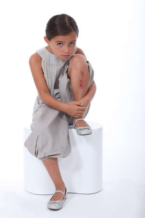 portrait of little girl with injury 스톡 콘텐츠