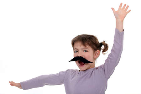 imitating: A little girl with a mustache
