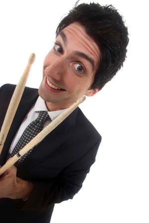 Man in a suit with drum sticks photo