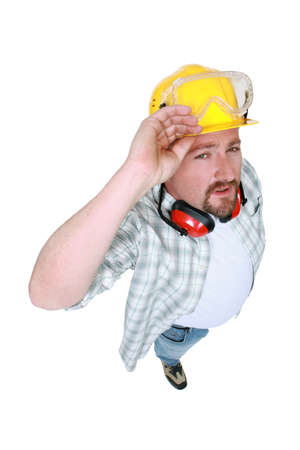 non verbal communication: Tradesman in a photo studio