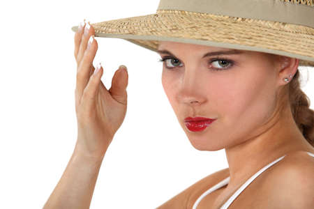 apathetic: Woman wearing a wide-brimmed hat