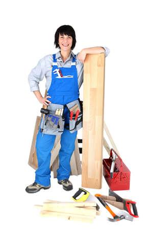 Female carpenter with tools photo