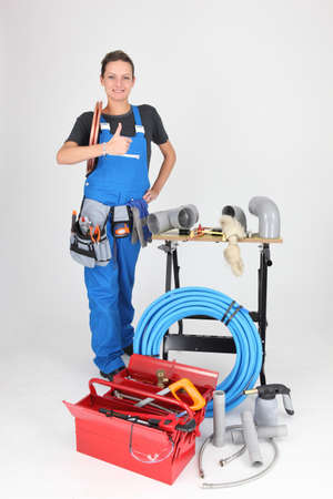 workbench: Tradeswoman giving the thumb