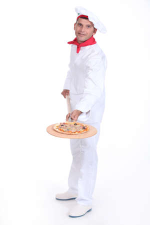 pizza maker: Pizza maker showing off his pizza