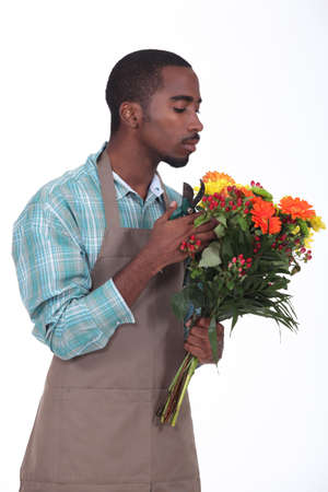 Afro-American flowers retailer photo