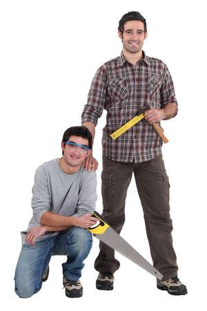 Portrait of a team of tradesmen photo