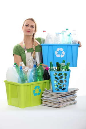 Woman recycling photo