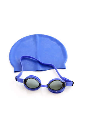 cut the competition: Blue swimming cap and goggles