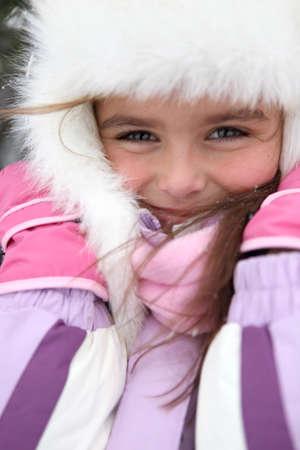 little girl wearing winter coat Stock Photo