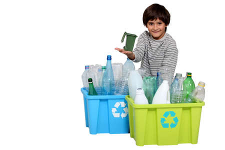 little boy waste sorting photo