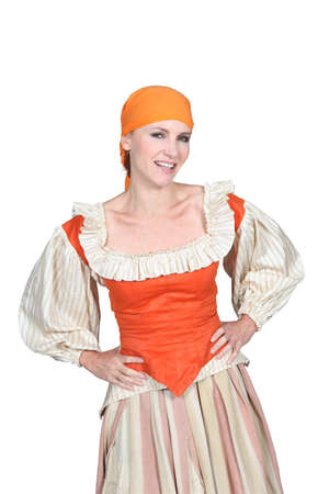 period costume: Woman dressed in maid outfit