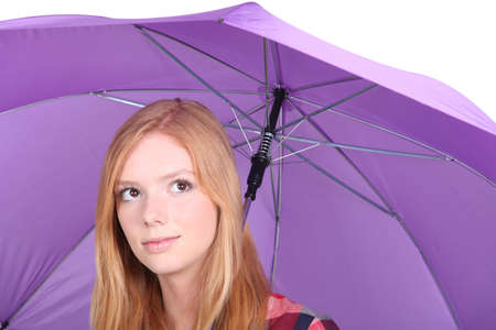 16 19 years: Girl with a purple umbrella