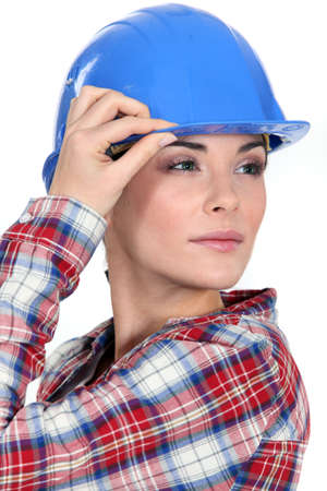 tradeswoman: Tradeswoman with a vision Stock Photo