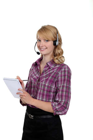 Blond call-center worker Stock Photo - 13621880