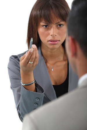 angry couple: Business people having a disagreement