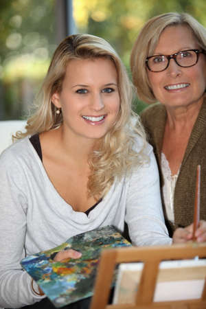 role: Woman with her mother Stock Photo