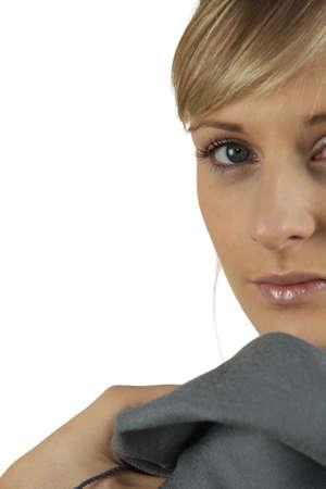glancing: Woman glancing over her shoulder
